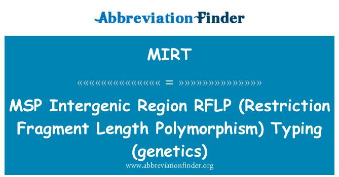 MIRT: MSP   Intergenic Region RFLP (Restriction Fragment Length Polymorphism)  Typing (genetics)