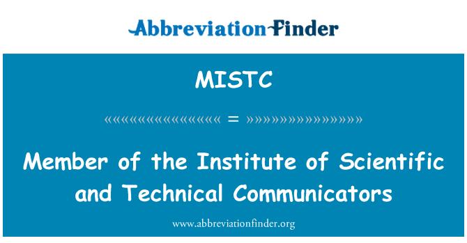 MISTC: Member of the Institute of Scientific and Technical Communicators