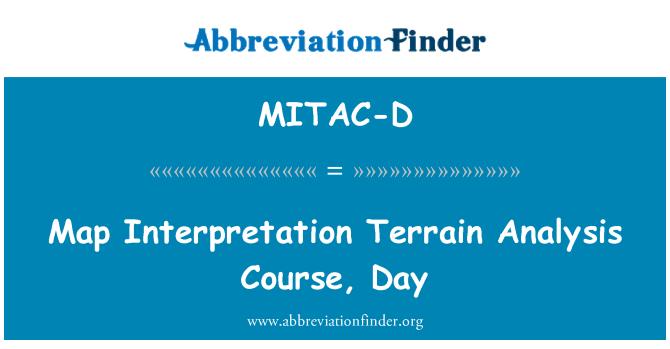 MITAC-D: Map Interpretation Terrain Analysis Course, Day