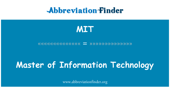 MIT: Master of Information Technology