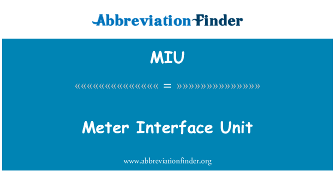 MIU: Meter Interface Unit