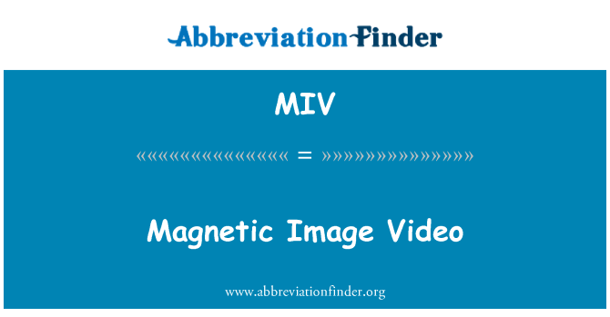 MIV: Magnetic Image Video