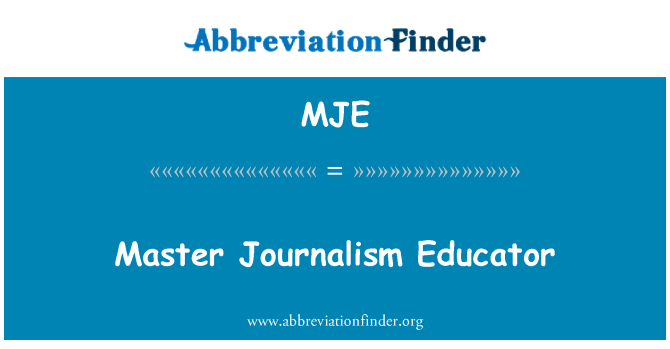 MJE: Master Journalism Educator