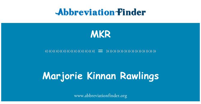 MKR: Marjorie Kinnan Rawlings