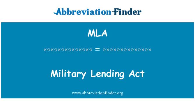 MLA: Military Lending Act