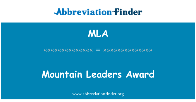 MLA: Mountain Leaders Award