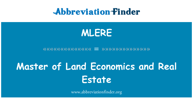 MLERE: 土地经济学与房地产硕士