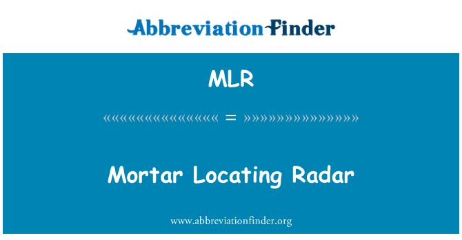MLR: Mortar Locating Radar