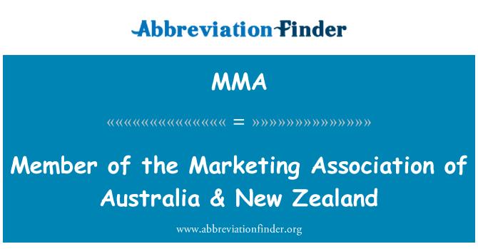 MMA: Member of the Marketing Association of Australia & New Zealand