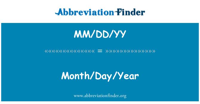MM/DD/YY: Month/Day/Year