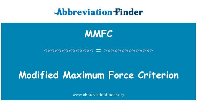 MMFC: Geänderte Maximalkraft Kriterium