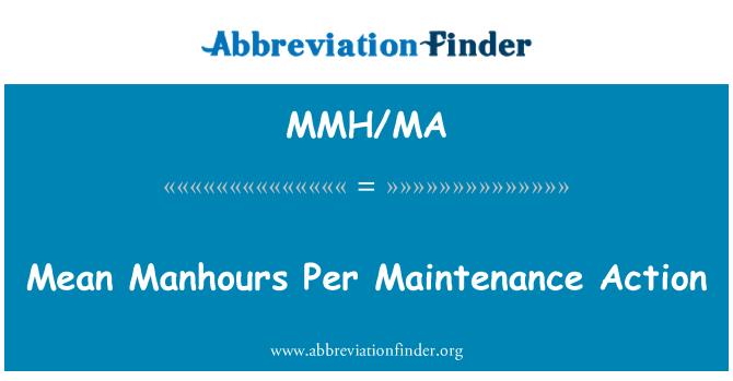 MMH/MA: Mean Manhours Per Maintenance Action