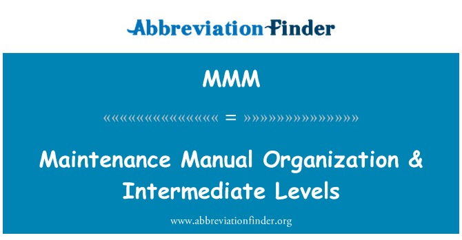 MMM: دیکھ بھال دستی تنظیم & انٹرمیڈیٹ کی سطح