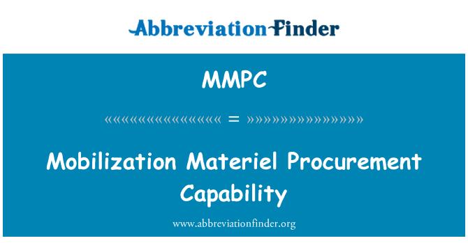 MMPC: Keupayaan perolehan kelengkapan mobiliti