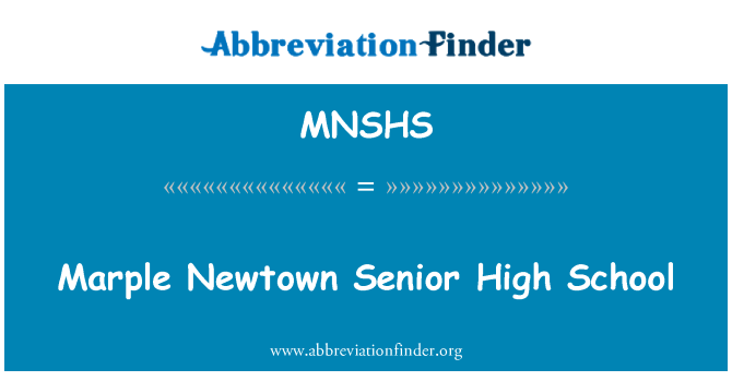 MNSHS: Marple Newtown Senior High School