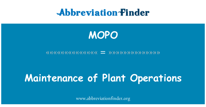 MOPO: Bakım tesisi işlemleri
