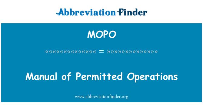 MOPO: İzin verilen işlemleri Kılavuzu