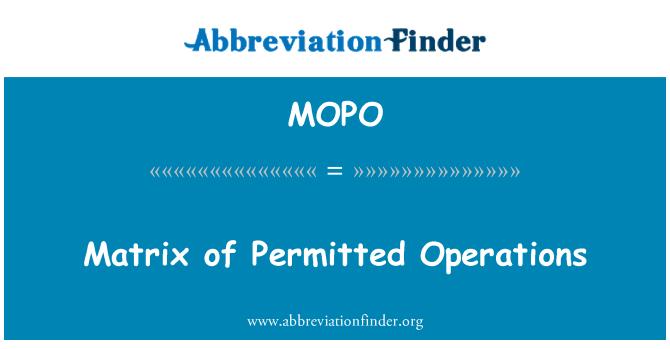 MOPO: Lubatud toimingud maatriks