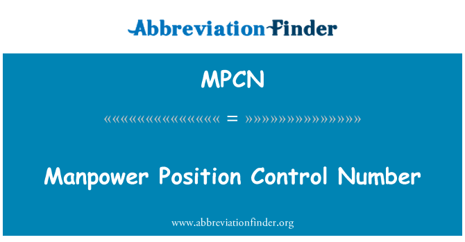 MPCN: Manpower Position Control Number