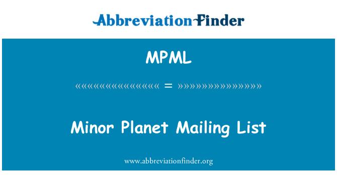 MPML: Küçük gezegen e-posta listesi