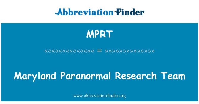 MPRT: Maryland paranormalnih istraživanja tima