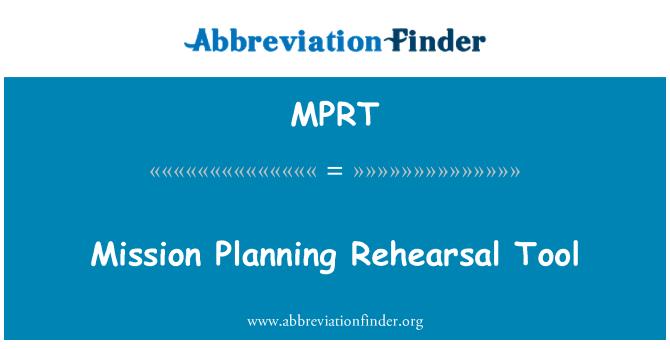 MPRT: Poslání plánování nástroje