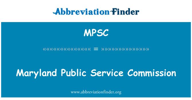 MPSC: Maryland Public Service Commission