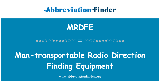MRDFE: Man-transportable Radio Direction Finding Equipment