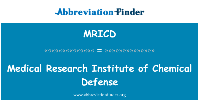 MRICD: Medical Research Institute of Chemical Defense