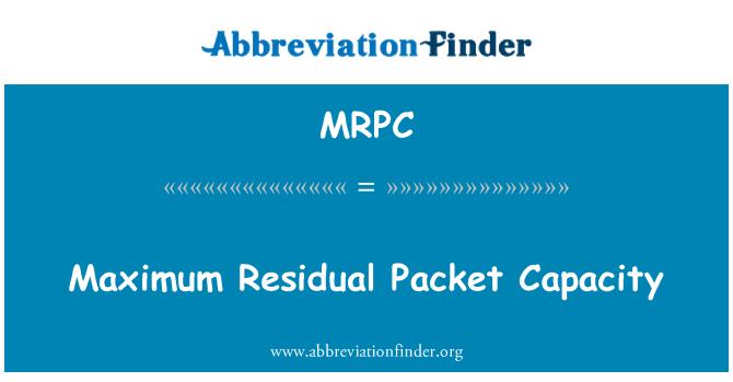 MRPC: Maksimaalne järelejäänud paketi maht