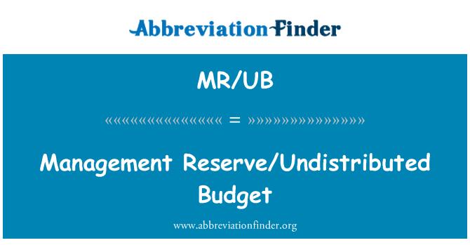 MR/UB: Management Reserve/Undistributed Budget