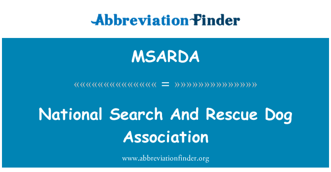 MSARDA: National Search And Rescue Dog Association