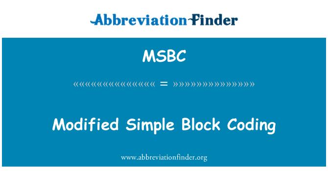MSBC: Değiştirilmiş basit blok kodlama