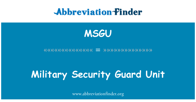 MSGU: Military Security Guard Unit