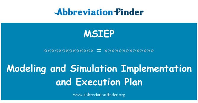MSIEP: ماڈلنگ اور نقلی کے نفاذ اور اجراء کی منصوبہ بندی