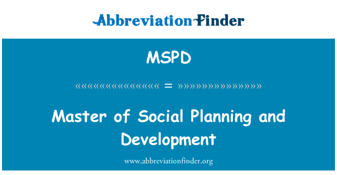 MSPD: Master of Social Planning and Development