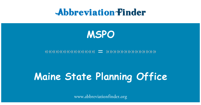 MSPO: Maine State Planning Office