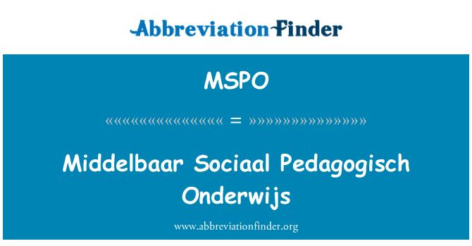 MSPO: Middelbaar Sociaal Pedagogisch Onderwijs