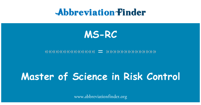 MS-RC: Master of Science in Risk Control