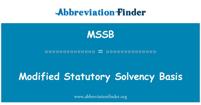 MSSB: Modified Statutory Solvency Basis