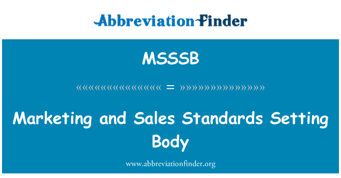 MSSSB: Marketing and Sales Standards Setting Body