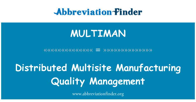 MULTIMAN: Distributed Multisite Manufacturing Quality Management