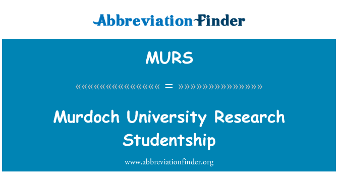 MURS: Murdoch University Research Studentship
