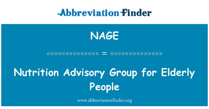 NAGE: Nutrition Advisory Group for Elderly People