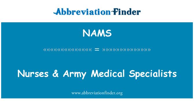NAMS: Las enfermeras & ejército médicos especialistas
