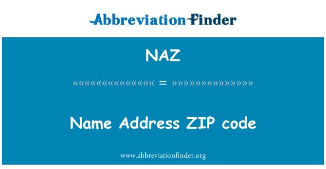 NAZ: Adı adresi alan kodu