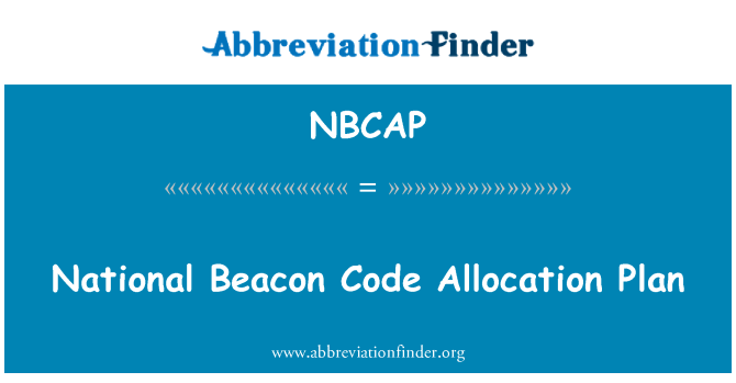 NBCAP: National Beacon Code Allocation Plan