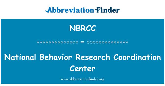 NBRCC: National Behavior Research Coordination Center