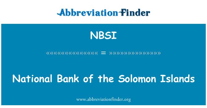 NBSI: Banco Nacional de las Islas Salomón
