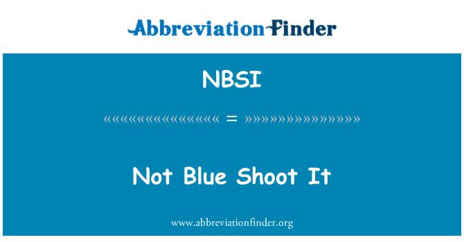NBSI: Ne mėlyna šaudyti